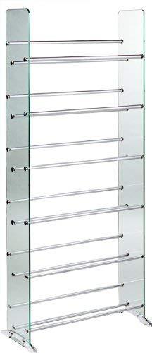 TransDeco TD019S Glass Multimedia CD/DVD Rack, Clear/Silver (Glass Dvd Rack)