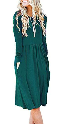 (AUSELILY Long Sleeve Pockets Empire Waist Loose Swing Casual T Shirt Dress Knee Length Dress(2XL,Dark Green))