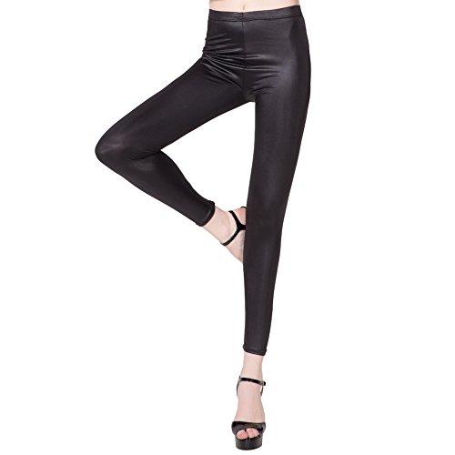 Shiningwaner Women Faux Leather Skinny Pants Warm Low Waist Slim Leggings With Fleece (S/M)