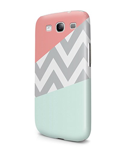 Mint And Coral Pink Chevron Block Plastic Snap-On Case Cover Shell For Samsung Galaxy S3
