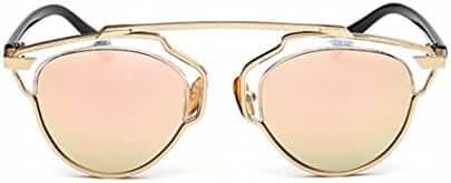 GAMT Fashion Polarized Aviator Sunglasses Flat Reflective Mirrored Cateye Metal Eyewear