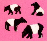 Malayan Tapir Fuzzy Stickers set of 4 - T068 B50