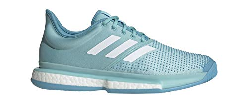 adidas SoleCourt Boost x Parley Mens Tennis Shoe (Teal/White) (13) ()