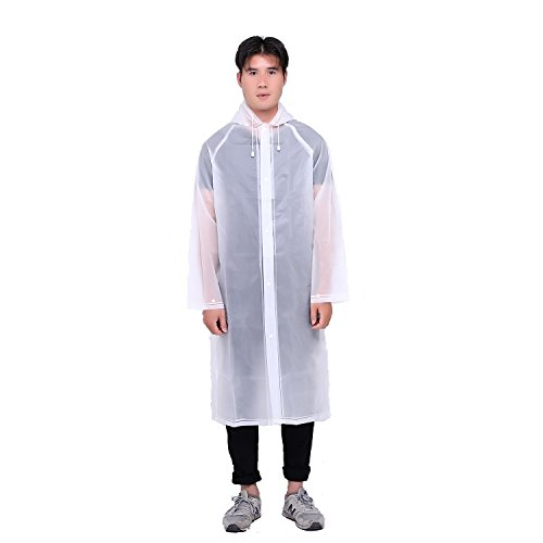 AdventureWorld Ripstop Button-Down Rain Poncho (with Extendable Backpack Section) (Clear White)