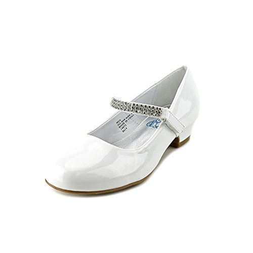 Swea Pea & Lilli Girl's Low Heel Girls Dress Shoe with Rhinestone Strap White 5