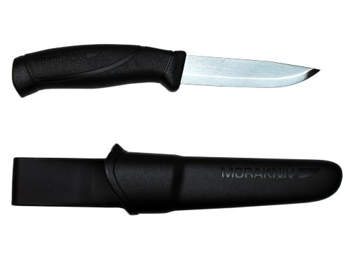 Morakniv Companion Fixed Blade Outdoor Knife with Sandvik Stainless Steel Blade, 4.1-Inch, Black by Morakniv