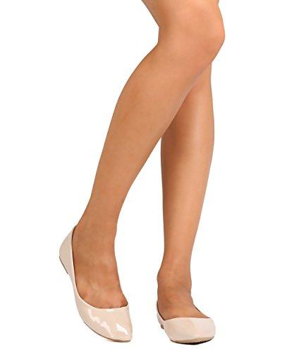 Qupid Pika-01xx Dames Ballet Flats Nude Pat Pu