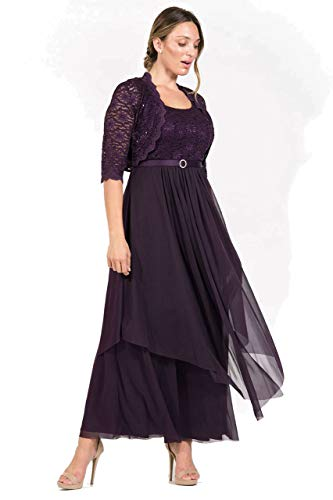 R&M Richards Long Mother of The Bride Formal Dress with Jacket (14, Eggplant) (Mother Of Bride Long Dresses With Sleeves)