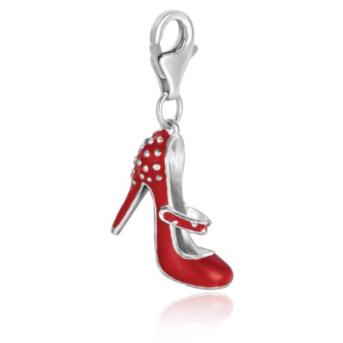 (Sterling Silver Red Enameled High Heel Shoe Charm)