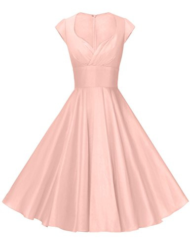 [GownTown Womens Dresses Party Dresses 1950s Vintage Dresses Swing Stretchy Dresses, Pink, X-Small] (1950 Dress)