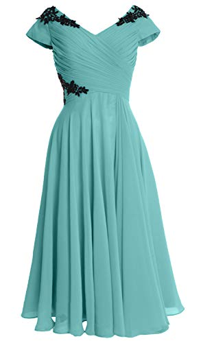 Turquoise Gown Macloth Neck Dress Women Mother Cap V Bride Wedding Of Party Midi Sleeve qwq7rZ
