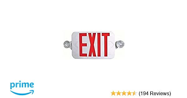 Ciata Lighting All LED Decorative Red Exit Sign & Emergency Light Combo  with Battery Backup