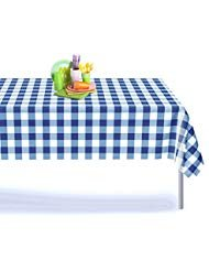 Blue Gingham Checkered 6 Pack Premium Disposable Plastic Picnic Tablecloth 54 Inch. x 108 Inch. Rectangle Table Cover By Grandipity