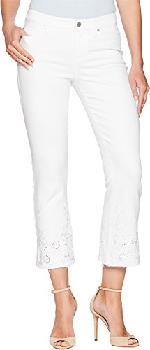 Liverpool Women's Hannah Crop Flare with Embroidery in Comfort Stretch Denim in Bright White Bright White 6 25.5 ()