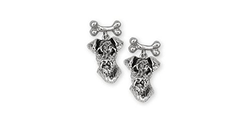 Airedale Terrier Jewelry Sterling Silver Airedale Terrier Earrings Handmade Dog Jewelry AR7-BNE