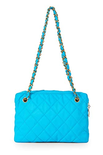 CHANEL Blue Quilted Fabric Shoulder Bag (Pre-Owned)