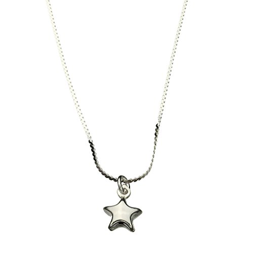 (Sterling Silver Tiny Star Charm Serpentine Nickel Free Chain Necklace Italy, 14