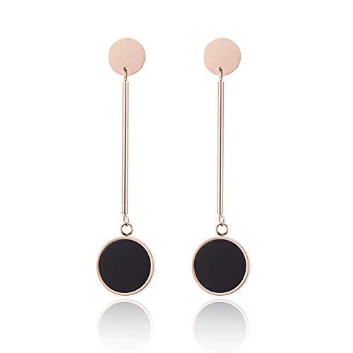 (ANDANTINO Stainless Steel Earring- Women's Geometric Long Ear Hook-Tassel Earring-Bar/Square Dangle Earring Stud Earring-Valentine's Gift for Girls (Rose Gold Black))