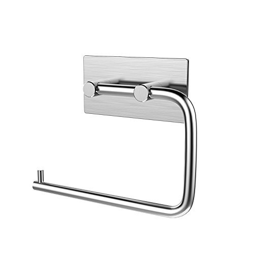 KONE Self-adhesive Toilet Paper Holder Storage Bathroom Kitchen Paper Towel Dispenser Tissue Roll Hanger Wall Mount, Stainless Steel Brushed