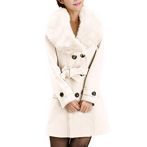 Nylon Tweed Coat - HULKAY Women's Fashion Faux Fur Lapel Double-Breasted Thick Wool Oversize Trench Coat Jacket Tops(White,5XL)