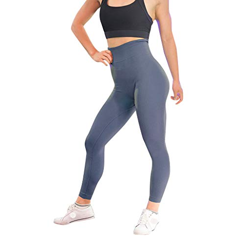 (Londony♪ Women's High Waist Yoga Pants Tummy Control Slimming Booty Leggings Workout Running Butt Lift Tights Navy)