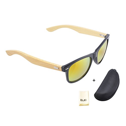 Piao-otd NEW Bamboo Wood Leg Sunglasses Mens Womens Retro Vintage with Polarized UV400 Lenses - Cool Are Clubmasters