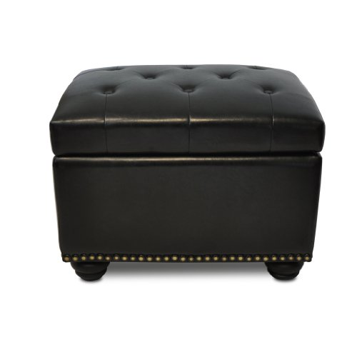5th Black Leather (Convenience Concepts Designs4Comfort Storage Ottoman, Black)