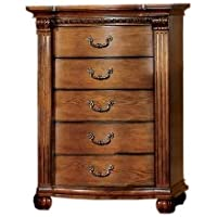 Furniture of America Lannister Elegant 5-Drawer Chest, Antique Tobacco Oak Finish