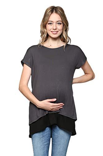 Hello MIZ Women's Maternity Nursing Tunic Top (Dark Gray/Black Short, S) (Tshirt Miz The)