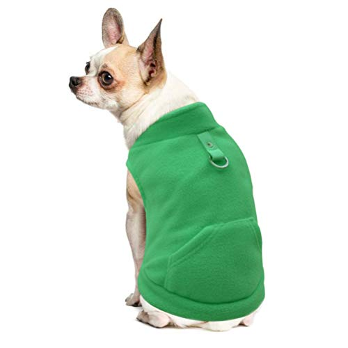EXPAWLORER Fleece Autumn Winter Cold Weather Dog Vest Harness Clothes with Pocket, Green Large