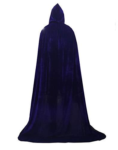 Cloak with Hood Velvet Cape Halloween Costume for Men Women (Purple,51