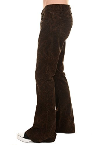 Mens Run & Fly 60s 70s Vintage Brown Paisely Corduroy Retro Bell Bottom Flares 34 Short