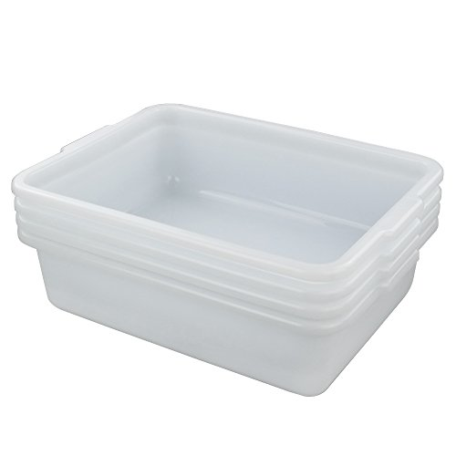 (Hommp White 12 Qt Rectangle Wash Basins, 4-Pack )