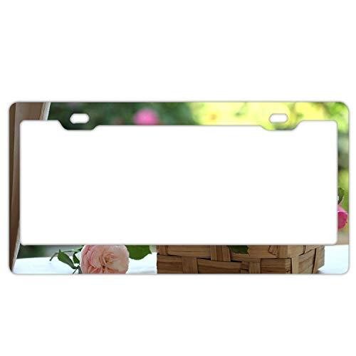 (Roses Buds Flowers Basket Beauty License Plate Frames Fine Slim Frame Standard Size)