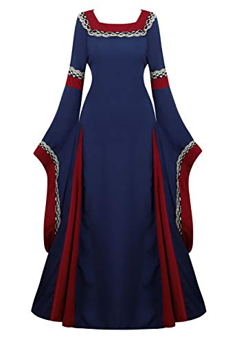 Renaissance Costume Women Medieval Dress Bell Sleeve Lace Up Vintage Retro Long Dress Halloween Cosplay Costumes, Navy Blue, XX-Large]()