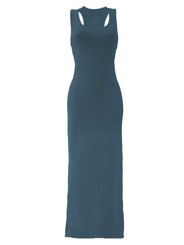 Verde maniche Vestito Donna BLISSRETAIL Basic Blu Senza wA0X8qq