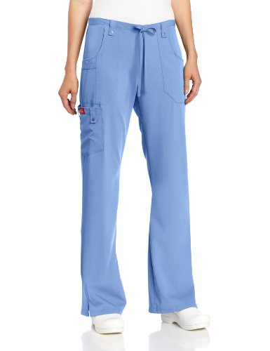 Dickies Women's Xtreme Stretch Fit Drawstring Flare Leg Pant, Ceil Blue, Medium by Dickies