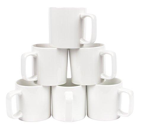 (Amuse- Bistro Gourmet Professional Large Coffee/Tea Mug Set (6 Pcs) (White))