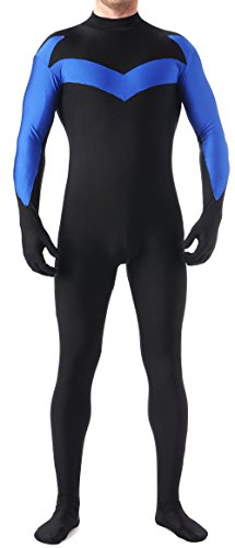 [Seeksmile Unisex Nightwing Bodysuits Lycra Spandex Zentai Halloween Party Costume (Kids Small,] (Nightwing Halloween Costumes)
