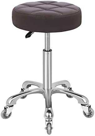 KARRIE Swivel Stool Chair Adjustable Height,Heavy Duty Hydraulic Rolling Metal Stool for Kitchen,Salon,Bar,Office,Massage Coffee