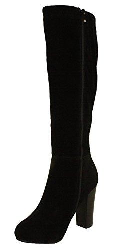 Refresh Women's Ringo-03 Knee High Side Zipper Closure Chunky High Heel Dress Boots,Black,9