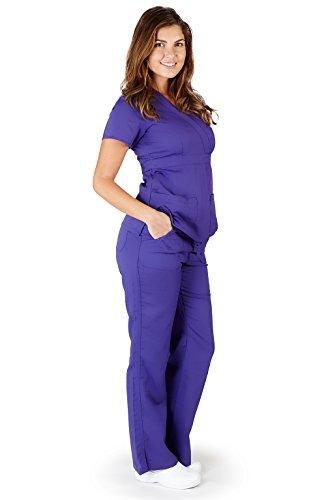 Ultra Soft Brand Scrubs - Premium Womens Junior Fit 3 Pocket Mock Wrap Scrub Set, Purple 39111-Medium ()