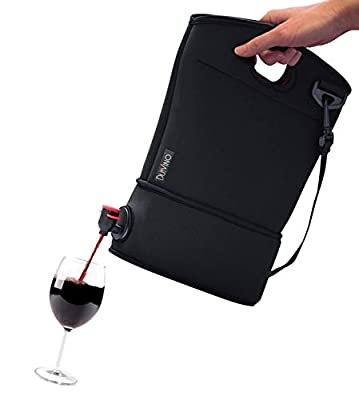 Wine Purse with Hidden Spout + 2 Disposable Wine Bladders- Hold Up to 4 Bottles of Wine- Wine Accessories And Gifts- Neoprene BYOB Insulated Beverage Tote Carrier- Secret Flask For Beach, Party, Pool