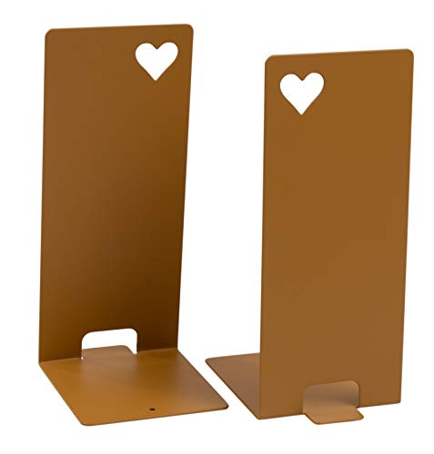 1-Pair Antique Gold Bookends - Non-Skid Metal Bookend Supports with Heart Cutout for Shelf, Kids Room, School, Dorm, Office Desk, Home Decor, and Library, 4.2 x 3.7 x 7.9 Inches