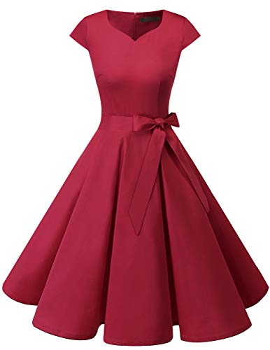 (DRESSTELLS Retro 1950s Cocktail Dresses Vintage Swing Dress with Cap-Sleeves DarkRed L)