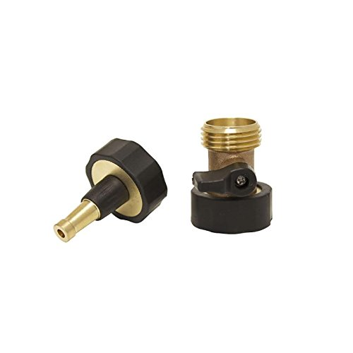 Kasian House Quality Brass High Pressure Jet Sweeper Sprayer Nozzle and Connector Combo   Includes Shut-off Valve   Clean Outdoor