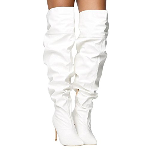 CAPE ROBBIN Womens Pointy Toe Over The Knee Thigh Thigh Stiletto Heel Side Zipper Slouchy Boots White zJ9t5dD1