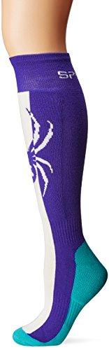 Spyder Women's Swerve Sock, Blue My Mind/White/Baltic, Large (Sport Mit R-logo)