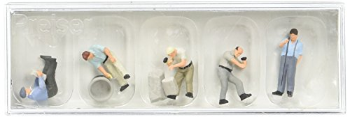 Preiser 10669 Working at The Quarry Stone Wall Package(5) HO Model Figure