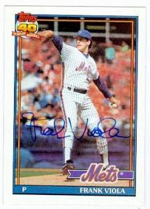 Frank Viola Autographed Baseball - card 1991 Topps #60 - Autographed Baseball -